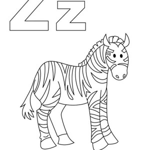 Z for Zebra Coloring Page