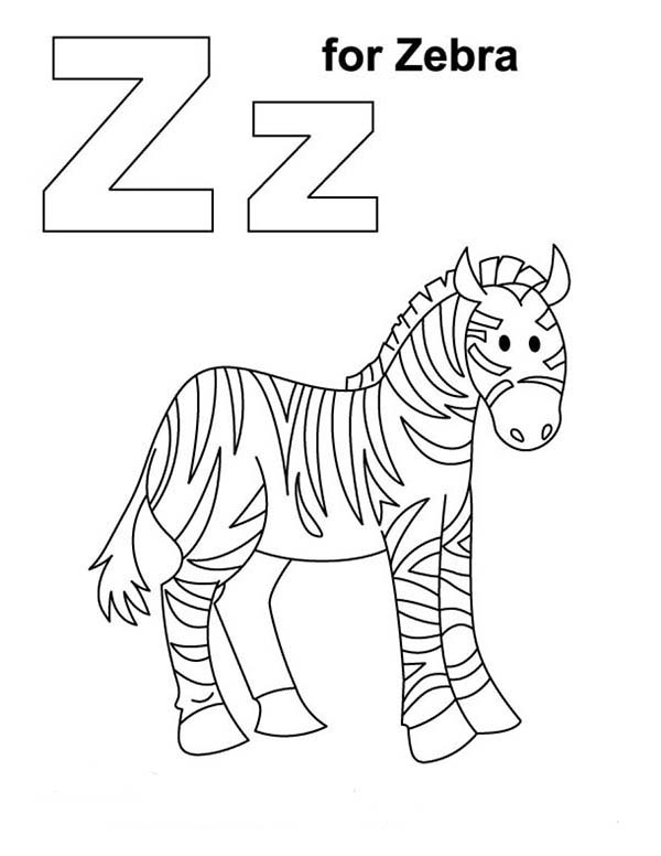 z for zebra coloring page - Zebra Coloring Pages