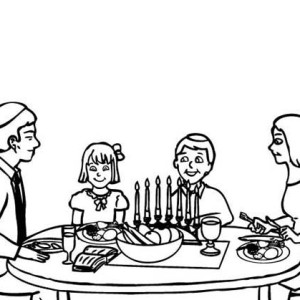 A Family Celebrating Passover Meal Coloring Page