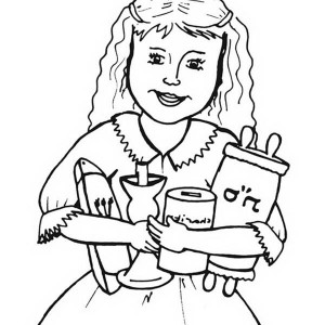A Little Girl Celebrate Rosh Hashanah Coloring Page