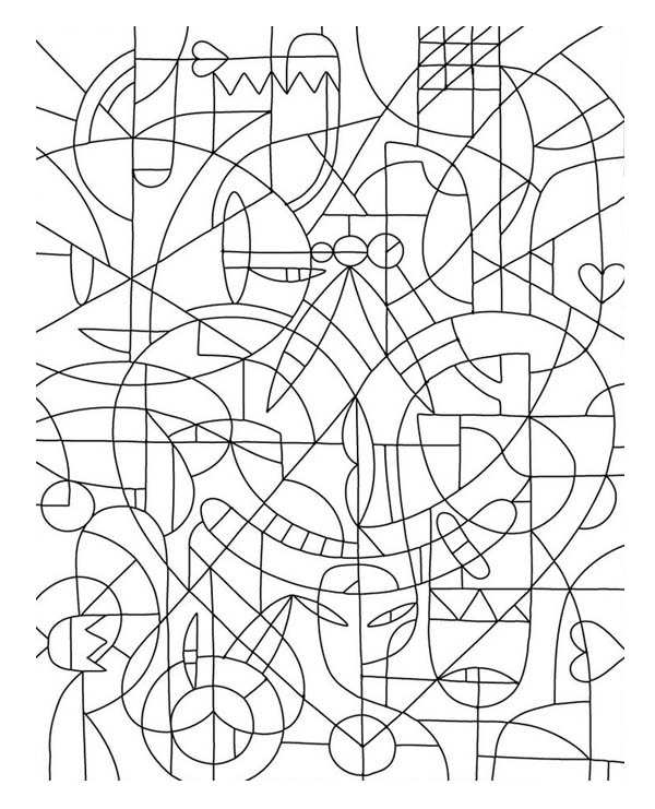 Abstract Mosaic Coloring Page Download Print Online