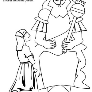 Cute Queen Esther in Purim Coloring Page: Cute Queen Esther in ...