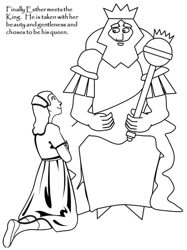Ahasuerus and Esther Meet in Purim Coloring Page - Download ...