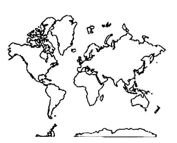 all around world map coloring page