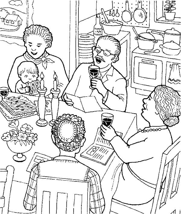 All Family Gathered to Celebrate Passover Coloring Page - Download ...