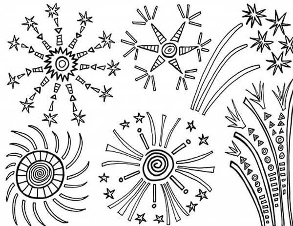 amazing 4th of july fireworks coloring page - 4th Of July Coloring Pages