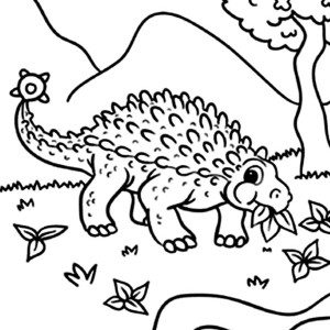 Ankylosaurus Dinosaurus is Eating Coloring Page