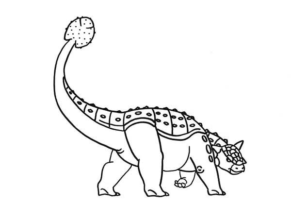 Ankylosaurus lifting his tail high coloring page