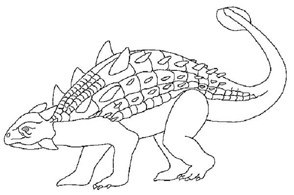 Ankylosaurus ready to attack coloring page