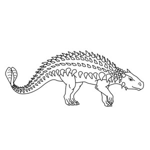 Ankylosaurus Walking Around Coloring Page