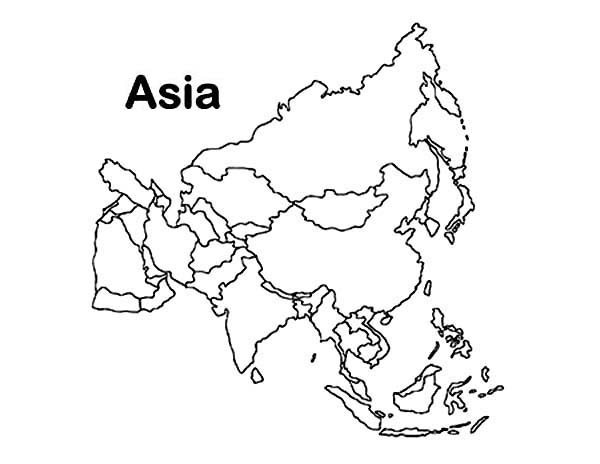 print asia continent in world map coloring page in full size