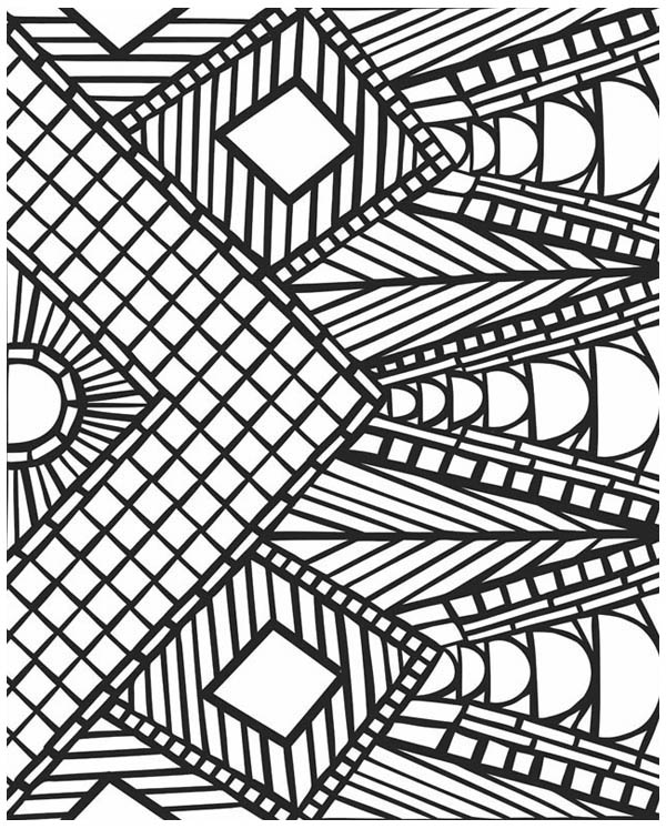 Awesome Geometric Mosaic Coloring Page Download Print
