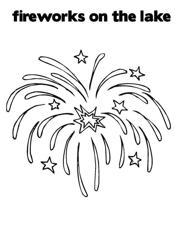 Beautiful Fireworks Over The Lake Coloring Page