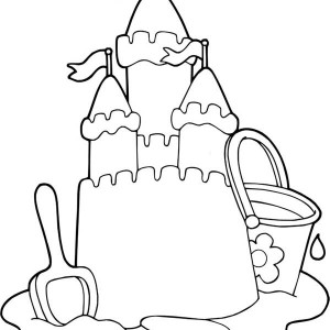 Sand Castle on the Beach Coloring Page: Sand Castle on the Beach ...
