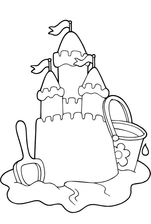 sand castle coloring page - beautiful sand castle picture coloring page download