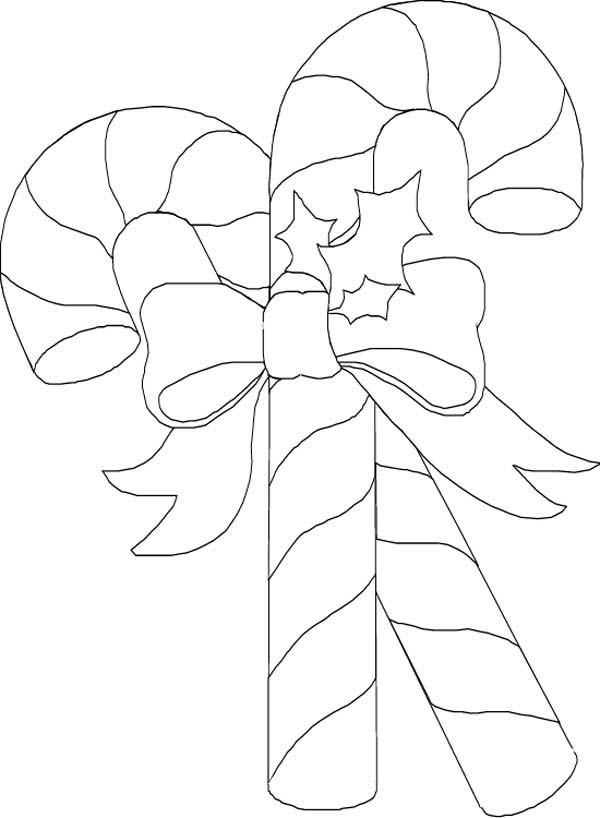 Beautiful and Shine Candy Cane Coloring Page Download Print