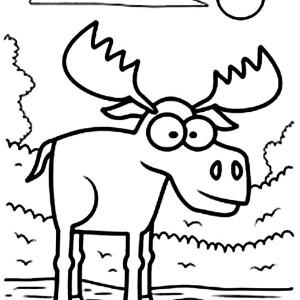 Big Eyed Moose Coloring Page