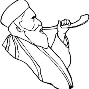 Blowing Shofar in Rosh Hashanah Coloring Page