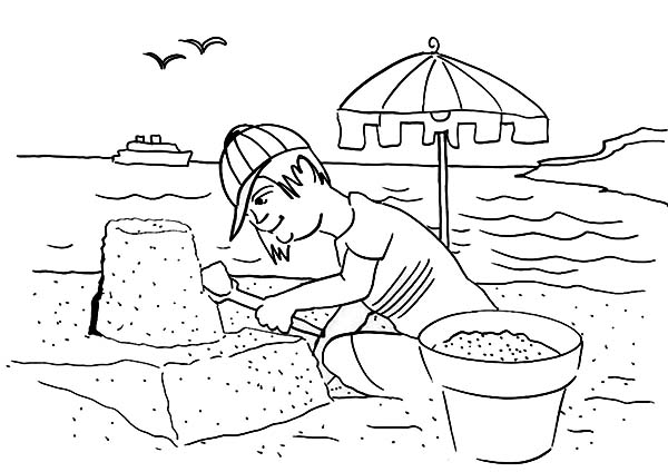 Boy build sand castle on seaside coloring page download for Seaside coloring pages