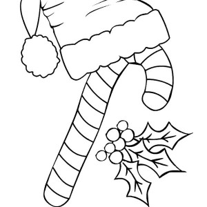 Candy Cane and Santa Claus Hat Coloring Page