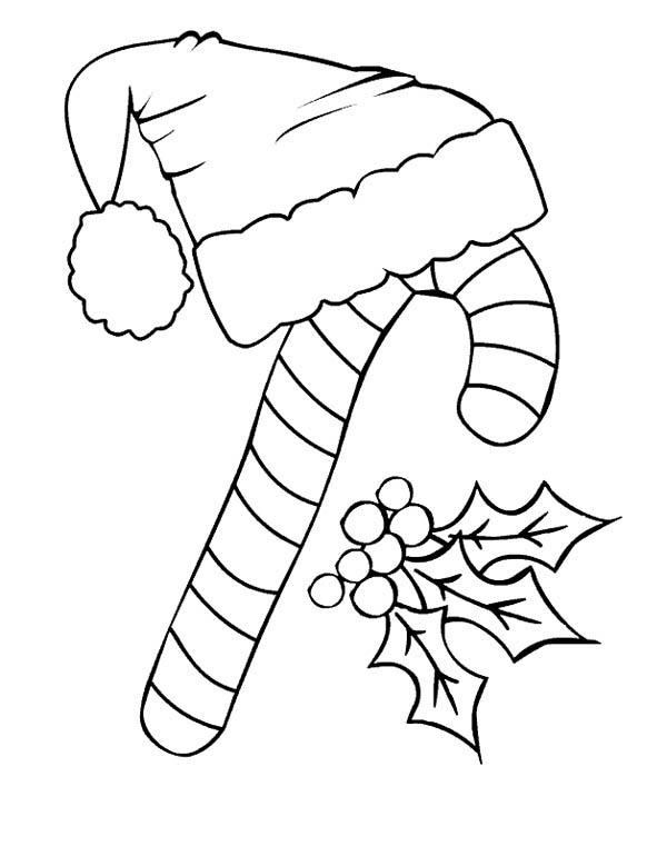 candy cane candy cane and santa claus hat coloring page candy cane and santa - Candy Canes To Color