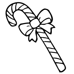 Candy Cane with Beautiful Ribbon Coloring Page