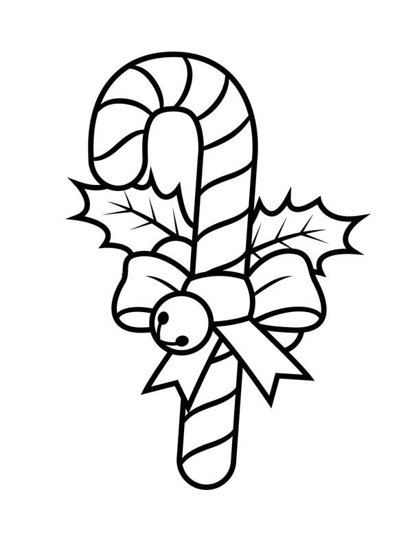 Candy Cane With Ribbon And Little Bell Coloring Page