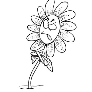 Cartoon of Angry Daisy Flower Coloring Page