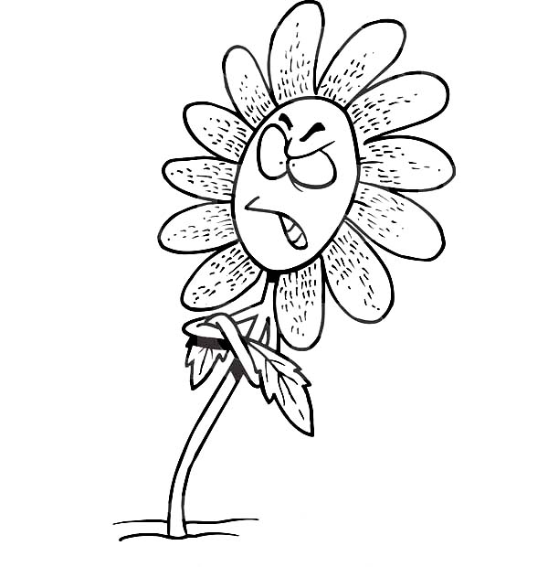 Click The Cartoon Wolf With Flowers Coloring Pages To View