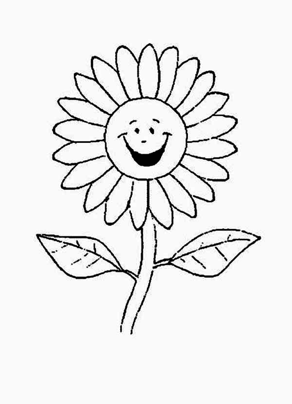 Cartoon of Laughing Daisy Flower Coloring Page Download Print