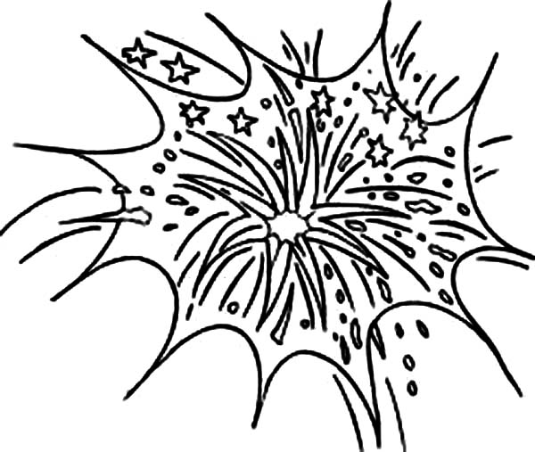 Celebrate New Year with Fireworks Coloring Page Download Print