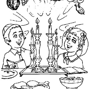 Celebrating Passover Day or Pesach on Hebrew Coloring Page