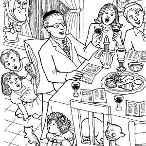 Celebrating Passover with Whole Families Coloring Page