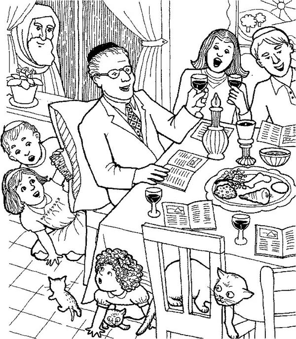 Passover Celebrating With Whole Families Coloring Page