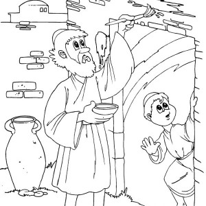 Children of Israel Do the Gods Command to Mark Their Door on Passover Coloring Page