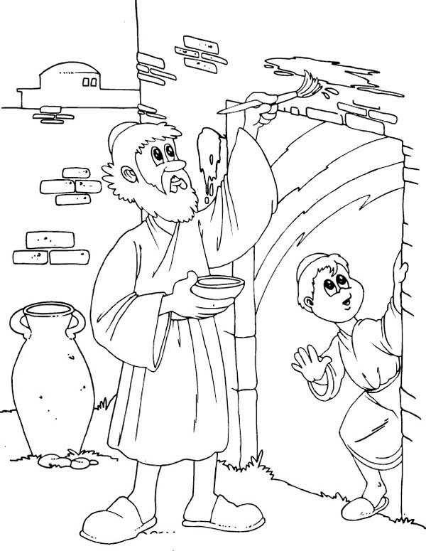 passover coloring page - children of israel do the gods command to mark their door