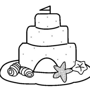 Summer Fun Play Sand Castle Coloring Page: Summer Fun Play Sand ...