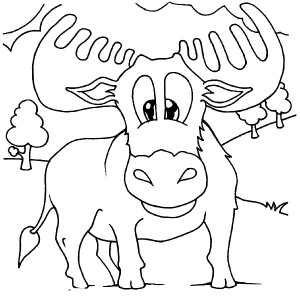 Moose Stepping on Grass Coloring Page Moose Stepping on Grass
