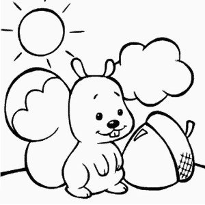 Cute Baby Squirrel and Oak Nut Coloring Page