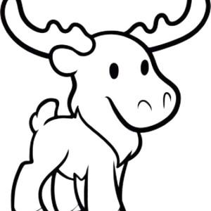 Cute Baby Moose Coloring Page