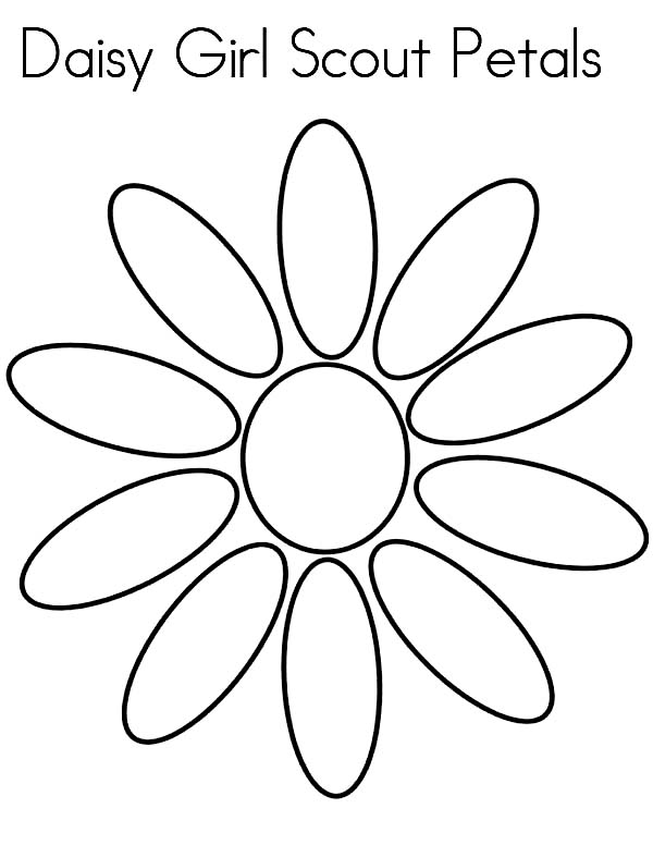 Daisy flower daisy girl scout petals coloring page for Girl scout coloring pages for daisies
