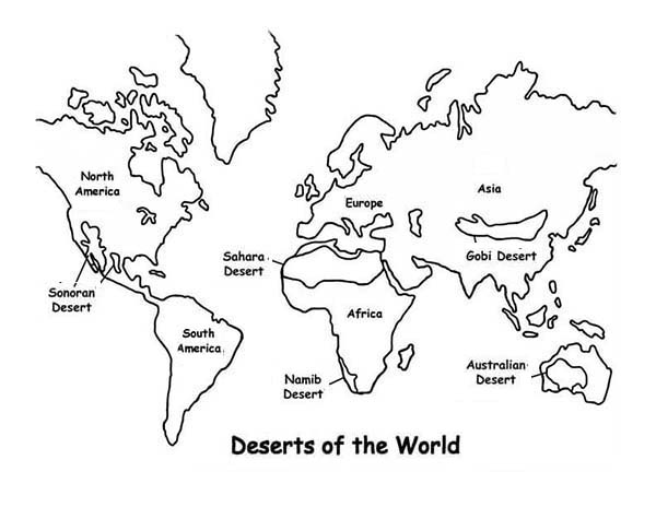 Deserts of the World in World Map Coloring Page Download Print
