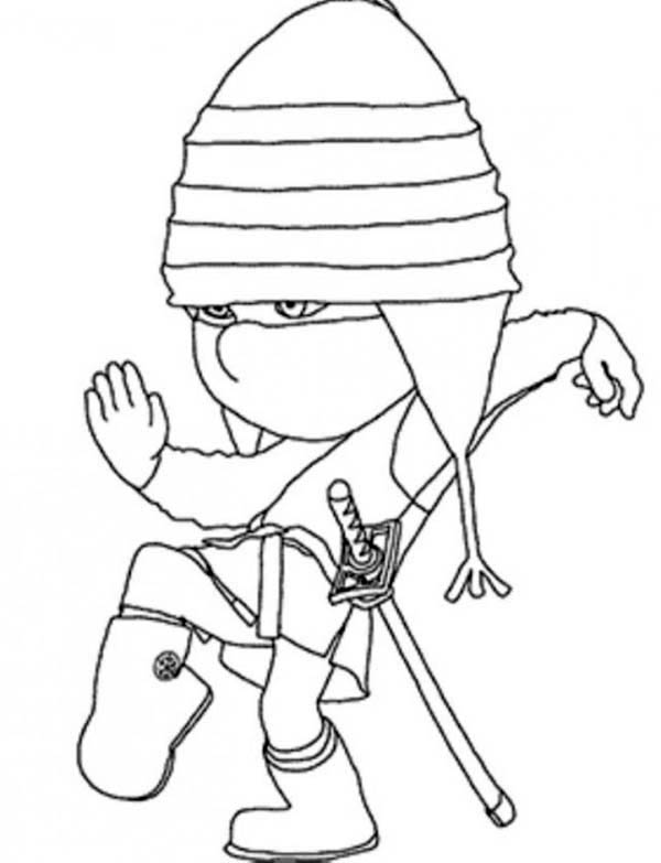 Ninja, Edith Playing Ninja In Despicable Me 2 Coloring Page: Edith Playing  Ninja In