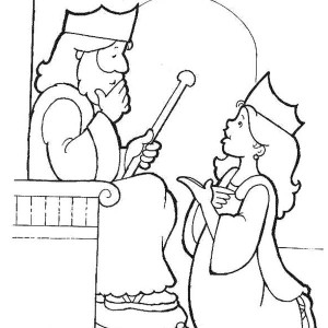 esther become kings harem in purim coloring page