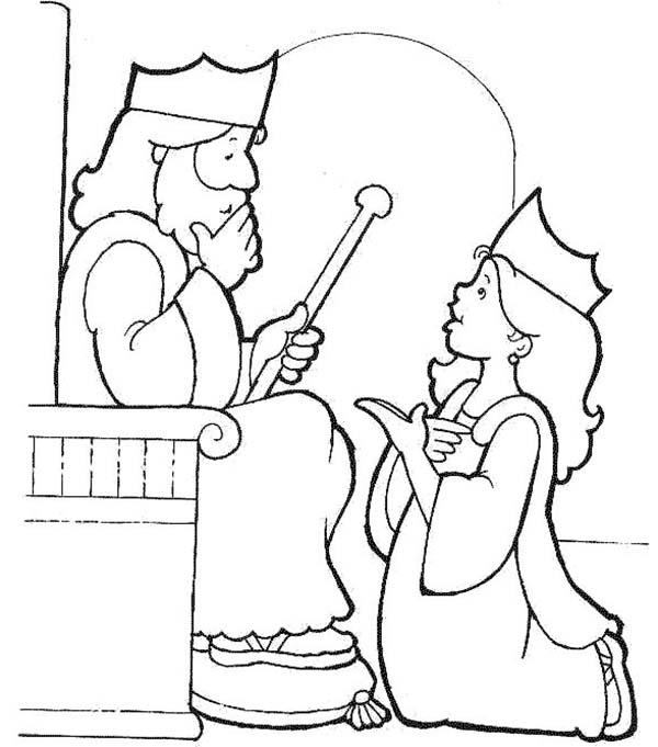Princess Esther Coloring Pages : Esther become king s harem in purim coloring page