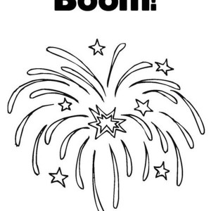 Exploding Fireworks Coloring Page