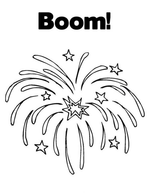 Exploding Fireworks Coloring Page Download Print Online