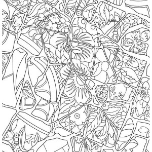 Floral Mosaic Coloring Page