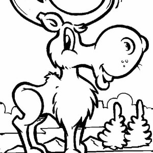 Funny Moose Coloring Page