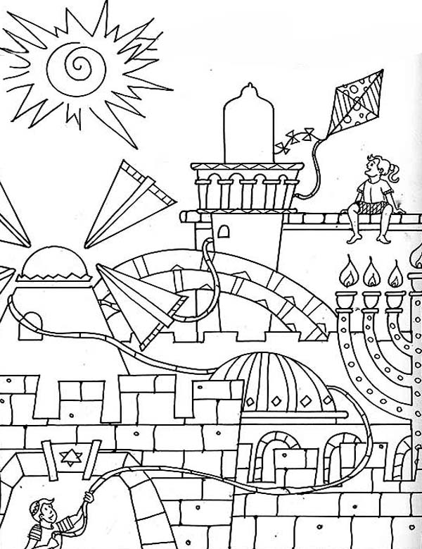 Jerusalem in purim day coloring page download print for Purim coloring page